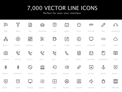 7,000 Vector Line Icons