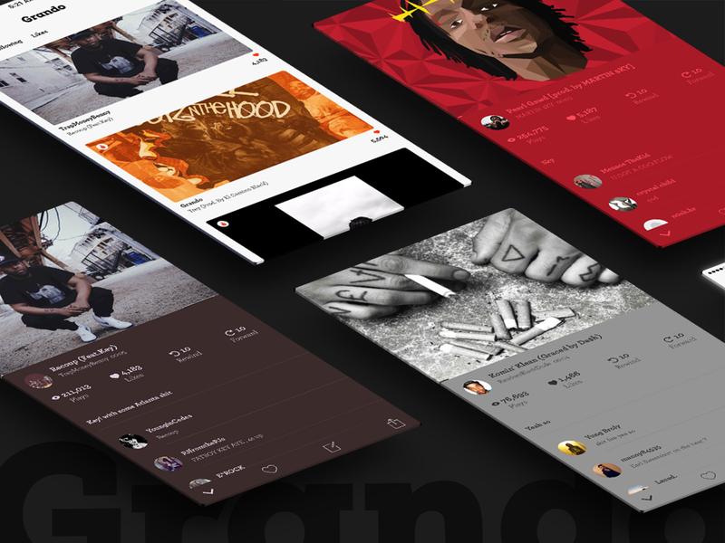 Grando: Rap Music Discovery App ux graphics atlanta simple graphic branding identity ui design