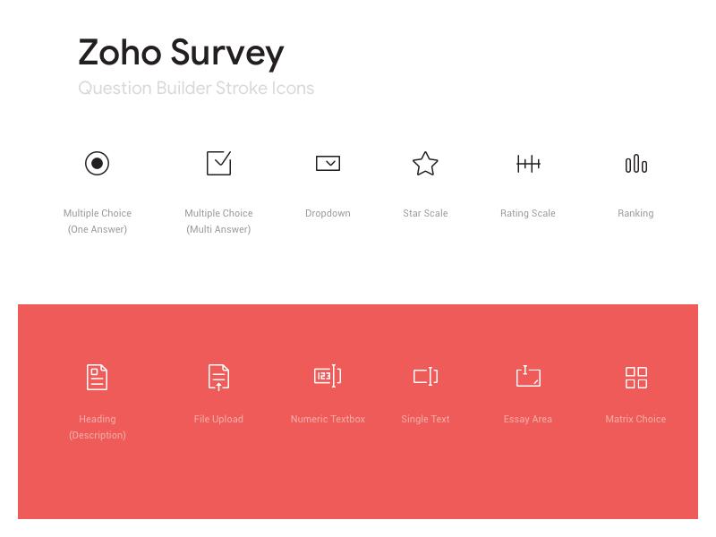 Zoho Survey Builder Icon set product web builder stroke vector simple iconography