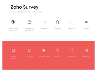 Zoho Survey Builder Icon set