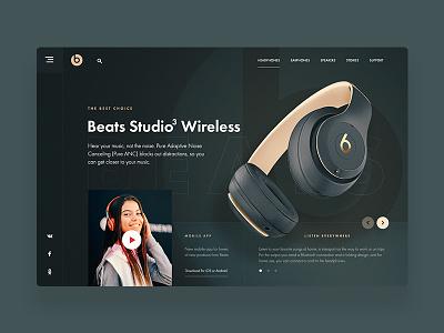 Beats Studio3 Wireless uidesign web beats by dre headphones ui deisgn uidesigner desktop ui  ux design beats uxdesign ux ui design uiux ui