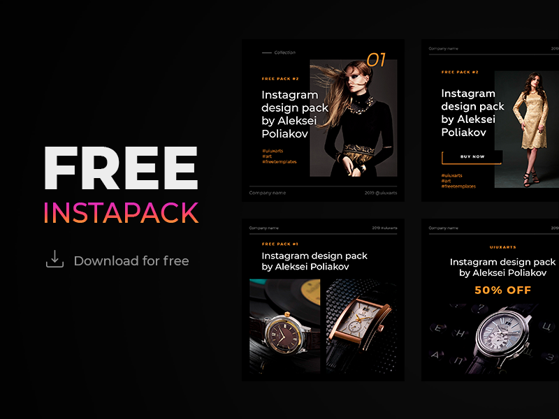 Free instagram templates pack #2 black edition instapack instagram post instagram templates instagram free psd mockup free pack free mockup download for free download mock-up download mockup banner template instagram template instagram banner free template free psd template free psd free download psd download