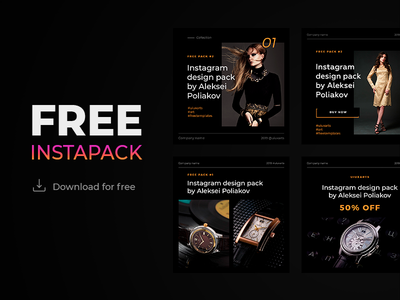 Free instagram templates pack #2 black edition