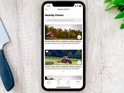 farmr - Nearby Farms ui mobile ui mobile app mobile list ios farmring