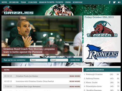 Grizzlies Home Page marketing site coach standings league team green ice hockey hockey sports ui ux