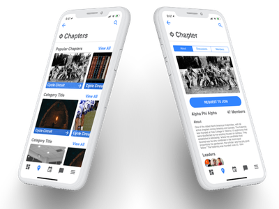 Varsity - Chapters and Chapter Detail university school ui ux blue clean iphone x ios iphone app iphone mobile app sorority