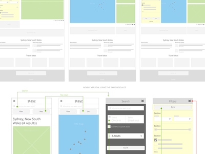 Modules responsive flow wireframes