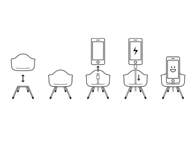 Chibi Chairs mid-century modern eames iphone stand chibi chairs icons illustration instructions instructional chibichairs