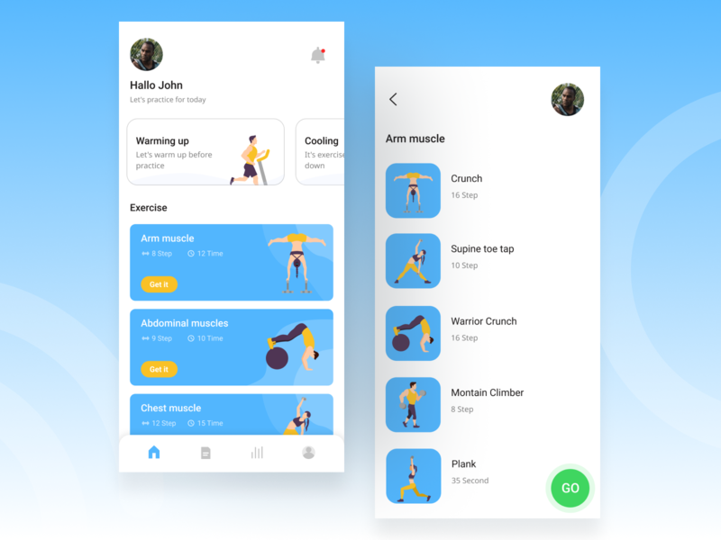 Fitness App Exploration workout fitness app fitness creative concept blue app trend ui mobile desaign clean 2020