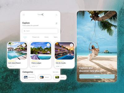 Travel App - Explore and discover new places 3d graphic design illustrator branding minimal ui adobe illustrator illustration design