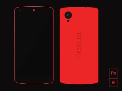 Freebie - Nexus 5 Red Edition free giveaway vector mobile nexus mockup psd freebie template flat ui phone