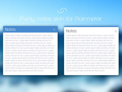 Purity notes skin for Rainmeter flat ui blue clean skin windows notes note rainmeter free blur desktop