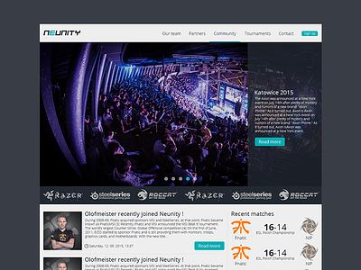 Neunity WebDesign landing page web navigation dark web design layout ui flat gaming webdesign