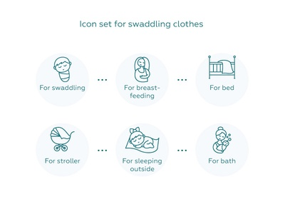 Icon set for swaddling clothes