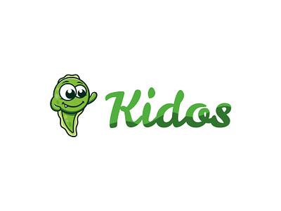 Kidos store logo children kids brand character design characterdesign character mascot branding design brand design branding logo green tadpole