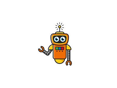 ROBOT robotics orange logo logofactory childrens logo kids logo robot logo brand identity vector branding design brand design logo design graphic design brand branding logo robots robot