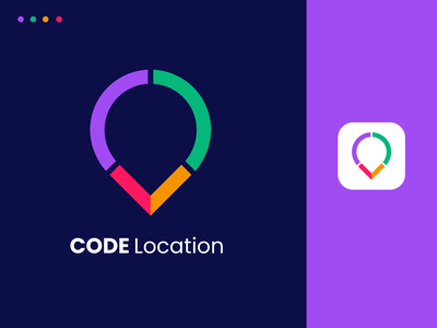 Code Location mapsite logos branding graphics logo business map pin area brand icon app minimal location programming program coder coding code