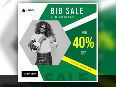 Instagram template big sale post with abstract background