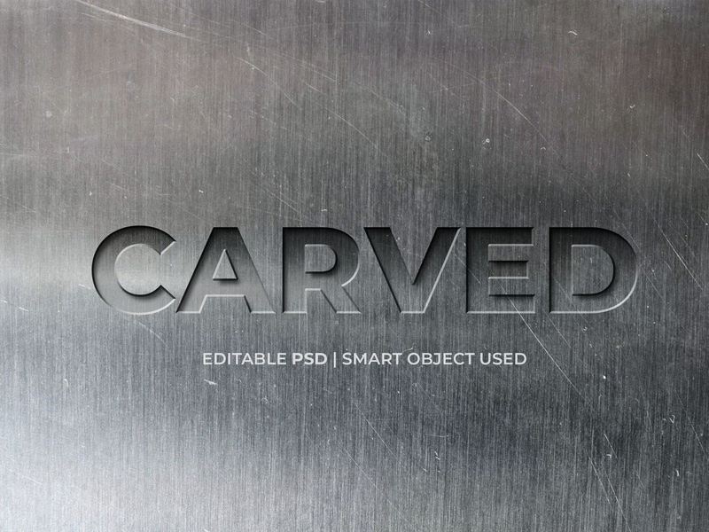 Carved text effect logo mockup style text metal carved text effect text effect