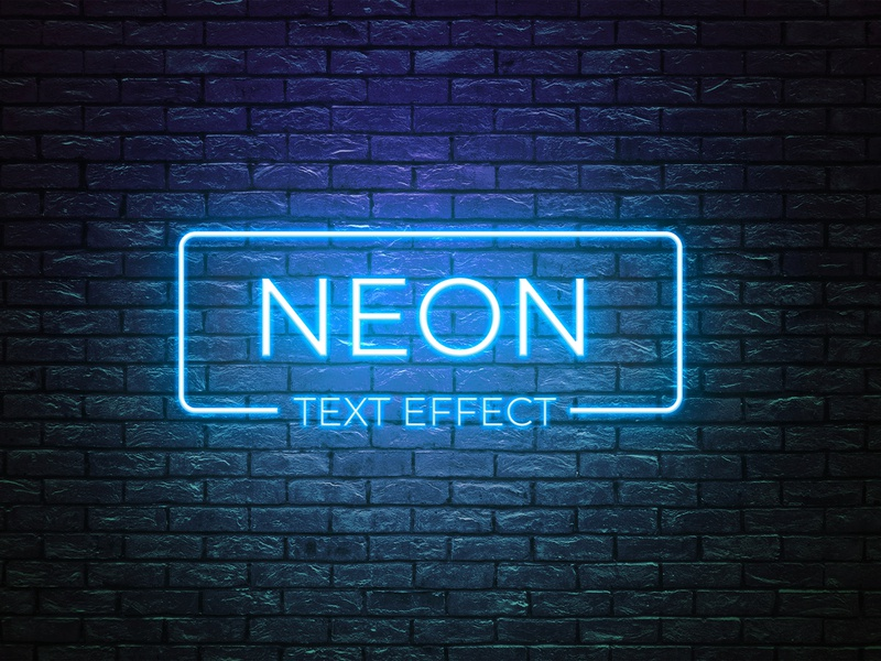 Neon text effect smart object high resolution brand logo mockup neon style text neon text effect text effect