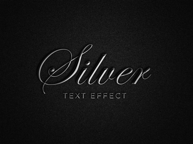 Silver text effect smart object design modern high resolution logo mockup silver style text silver text effect text effect