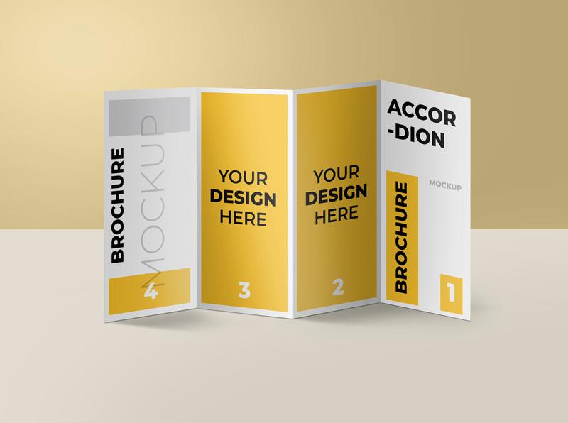 Accordion fold brochure mockup modern smart object identity brand high resolution mockup brochure accordion fold mockup brochure mockup