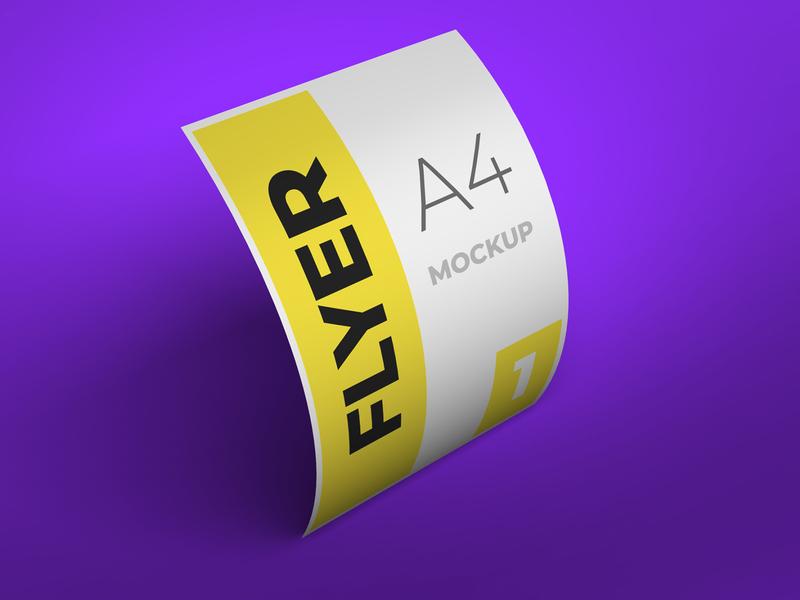 Flyer bended mockup flyer psd flyer design modern smart object identity high resolution brand a4 a4 flyer flyer mockup mockup flyer