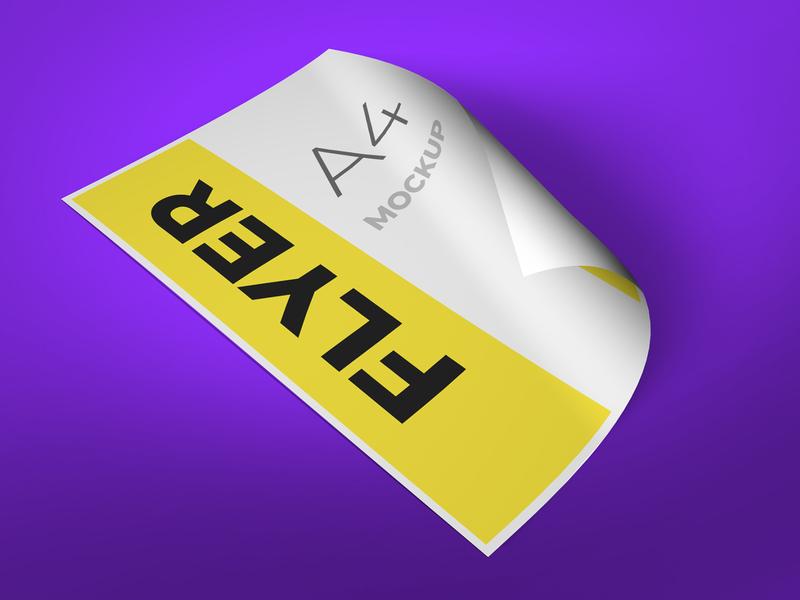 Flyer mockup with folded corner smart object identity high resolution brand a4 a4 flyer flyer mockup mockup flyer