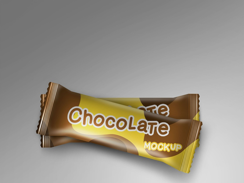 Chocolate bar wrapper mockup for packaging modern smart object identity high resolution brand bar wafer mockup wrapper mockup