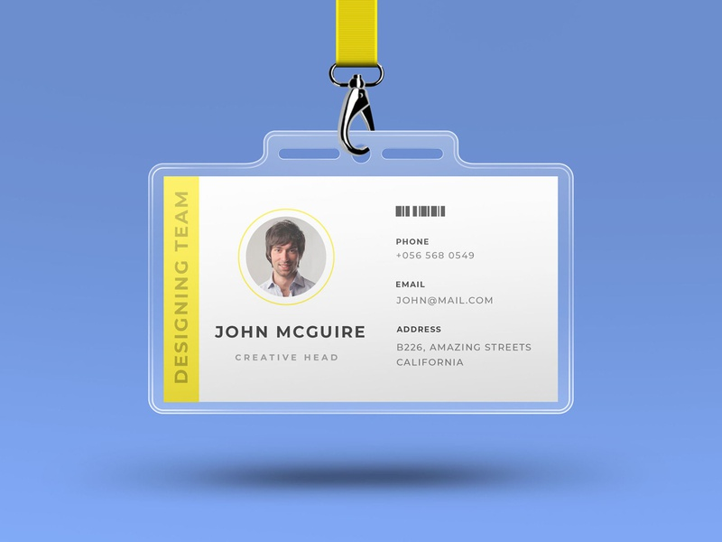 Corporate office id card design with mockup smart object identity high resolution brand mockup corporate card mockup