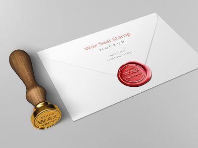 Wax seal stamp envelope mockup template brand envelope mockup