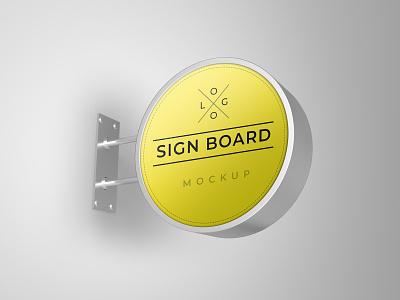 Signboard mockup smart object identity high resolution brand signboard mockup signboard mockup