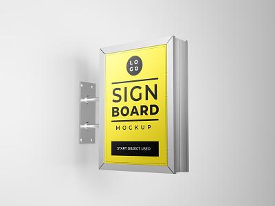 Signboard mockup design smart object identity high resolution brand signboard mockup signboard mockup