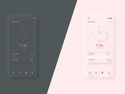 Clock Mobile app - UI Design app mobile app application ux design ui design time zone calendar clock light theme dark mode dark theme neomorphism