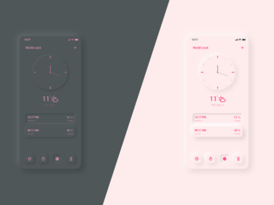 Clock Mobile app - UI Design app mobile app application ux design ui design time zone calendar clock light theme dark mode dark theme neomorphism