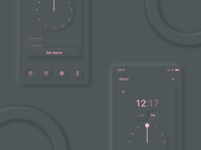 Clock Mobile app - UI Design light dark ui ux alarm app mobile app application ux design ui design time zone calendar clock light theme dark theme neomorphism