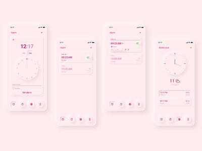 Alarm Clock - UI Design app mobile app application ux design ui design time zone calendar clock light theme dark theme neomorphism