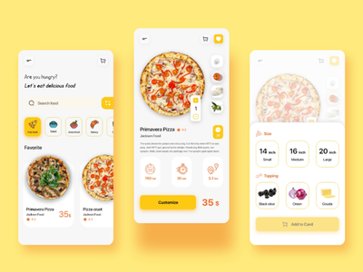 Food App - UI Design order app restoration app adobe xd adobe illustrator daily ui challenge 033 daily ui 033 033 daily ui challenge daily ui food pizza customize product food app ux design ui design ux ui