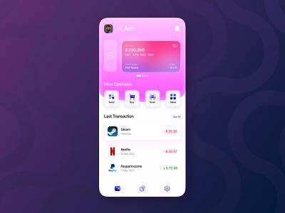 Finance App - UI Design ui app app design uidesign ux  ui daily ui figma wallet ui wallet app finance app ux glass morphism glassmorphic ui design ui adobe xd
