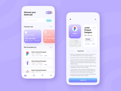 Job Finder App - UI Design daily ui challenge illustration app design ux ux design ui design adobe xd