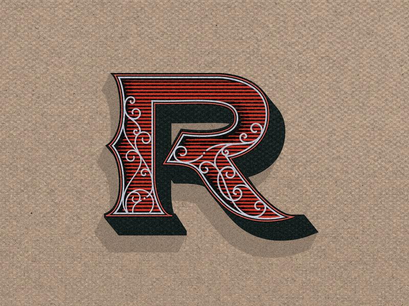 Retro R lines engravingart minimal lettering typography branding letters digital illustration design illustration engraving illustrator art vector