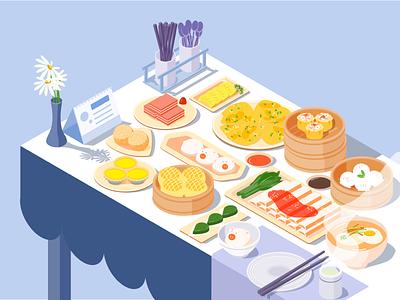 Breakfast Dim sum illustration