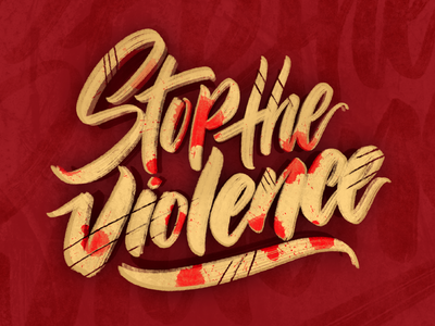 Stop the Violence type illustration procreate lettering art lettering handlettering design concept calligraphy typography