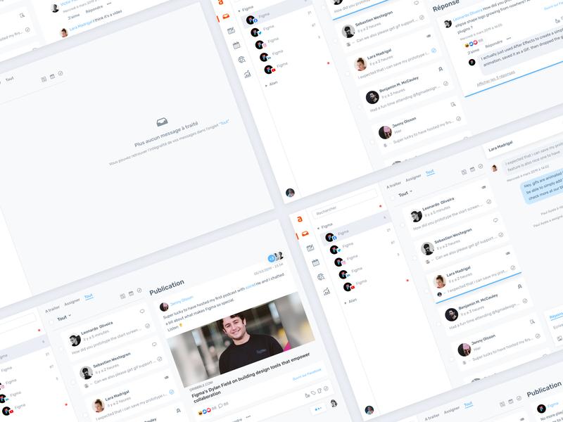 Agorapulse — New Inbox ✨ clean design 8px ux ui social media agorapulse crm saas product clean interface