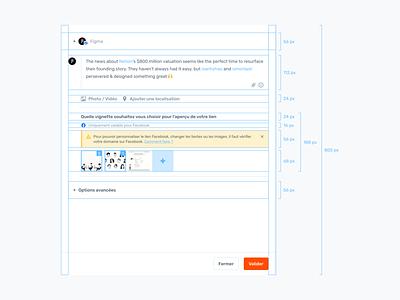 Agorapulse — Create a Post Spacing settings write social media composition agorapulse post facebook 8pt 8px spacing rules guide crm