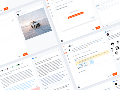 Agorapulse — Create a post [Step 1]✨ crm social media app agorapulse screens interface clean
