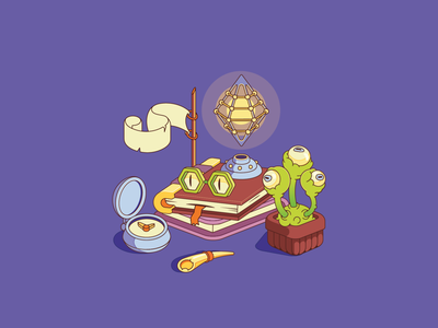 Monstrumologist table inflat purple books illustrator flat illustration