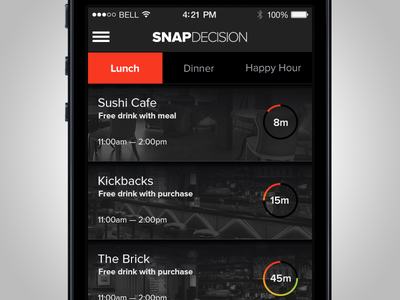 Snap Decision Home Screen feature23 ui design ux design interface design app ios iphone mobile native