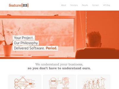 f[23] header f[23] feature23 orange klavika homepage logo nav navigation call out