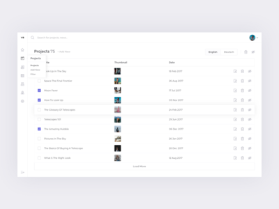 Admin Panel - Projects